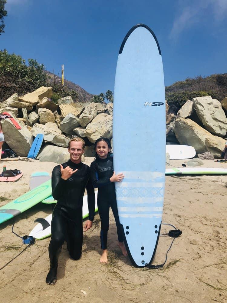 Santa Barbara Surf Camp kid with instructor