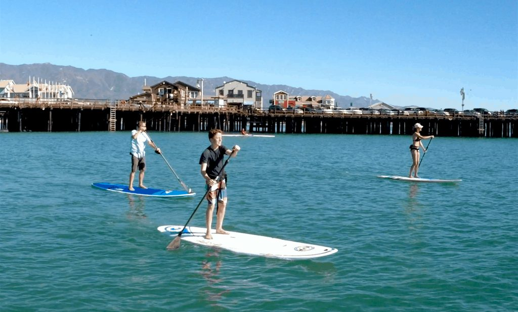 stand up paddle board lesson at Santa Barbara pier image
