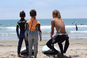 Surf Camp Santa Barbara coach with kids